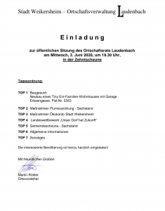 Einladung zur Ortschaftsratsitzung @ Zehntscheune